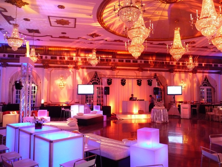 Fire & Ice - complete with glowing acrylic lounge furniture, fire gobo projections and moving lights for the dance floor