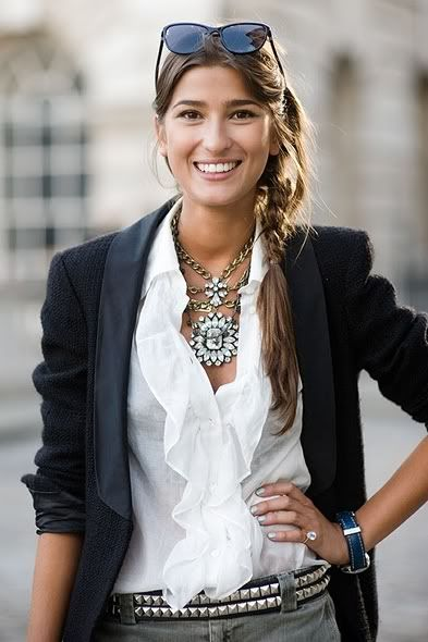 Women's Costume Jewelry Trends Chunky Vintage Inspired Rhinestone Jewelry 2011 Picture: Outfits, Blouses, Fashion, Statement Necklaces, Style, White Shirts, Blazers, Ruffles, Belts