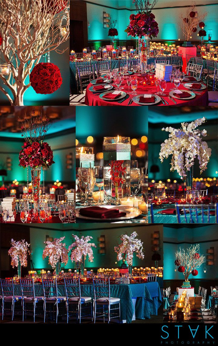 #turquoise and #crimson #wedding decor color palette! Perfect for a more vibrant feel! www.getstak.com