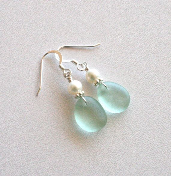 Sea Glass Earrings Sea Foam Green Freshwater Pearls Sterling Silver
