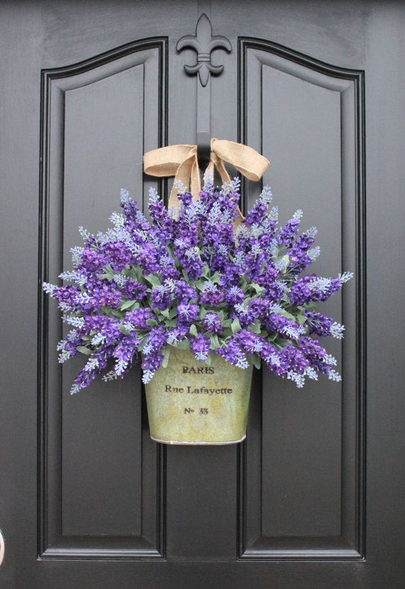 RESERVED Mother's Day Bouquet,  Lavender Wreath, Lavender Fields, Spring Flowers, Spring Bouquet, Spring Wall Pocket, Twoinspireyou Wreaths