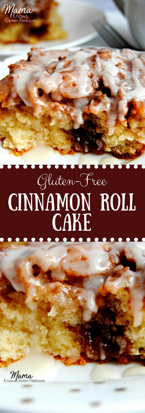 Do you miss cinnamon rolls since going gluten-free? Now you don't have too! This Cinnamon Roll Cake has the texture and the taste of a gooey cinnamon roll.