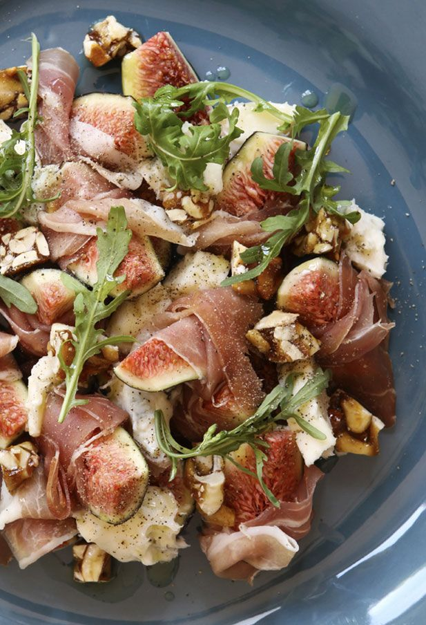 Figs are just in season, and this is a quick and easy way to use them to create a filling, summery salad. With salty Parma ham, gorgonzola and peanut brittle it combines some strong flavours and while not for the tame palette, is delicious. Ingredients (serves 6) Bag of wild rocket leaves 9 ripe fresh…