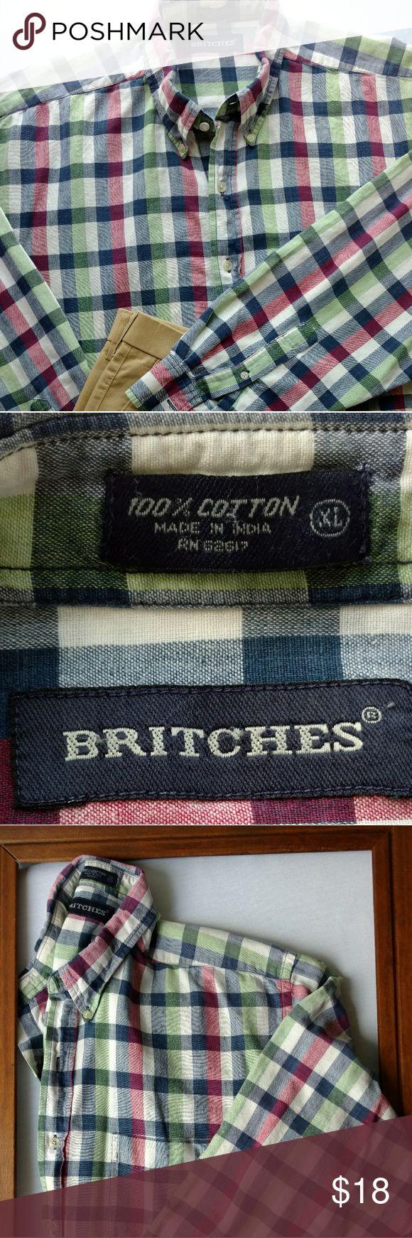Britches men's button down plaid shirt Britches men's button down, blue, red, green, off white plaid shirt w/button down collar Britches Shirts Casual Button Down Shirts
