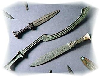 The Egyptians actually made very little use of swords until the Iron age, but even then preferred to use them only as a back-up weapon to their bows, spears and axes.  The most notable exception was the Bronze Canaanite Sickle Sword, or Khopesh, which traces its origins to Sumeria around the third millennium BC.  The Khopesh eventually became the very symbol of Egyptian authority, with two such swords even found in the tomb of the legendary Pharaoh/Mummy Tutankhamun (c 1350 BC).