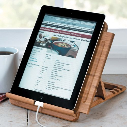 Lipper Bamboo Tablet/iPad Stand, 1887 Adjustable tablet holder lets you easily view recipes, read books, browse, shop or watch movies. $29.95