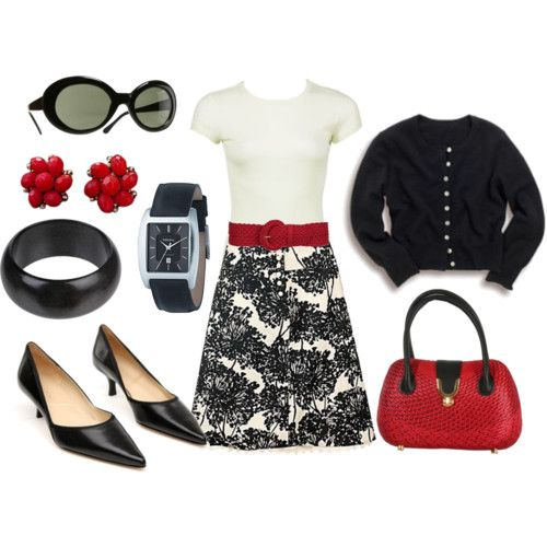 Cute retro look: Colors Combos, Skirts, Red Shoes, Black And White, Business Casual Outfits, Work Outfits, Black White Red, Belts, Red Black