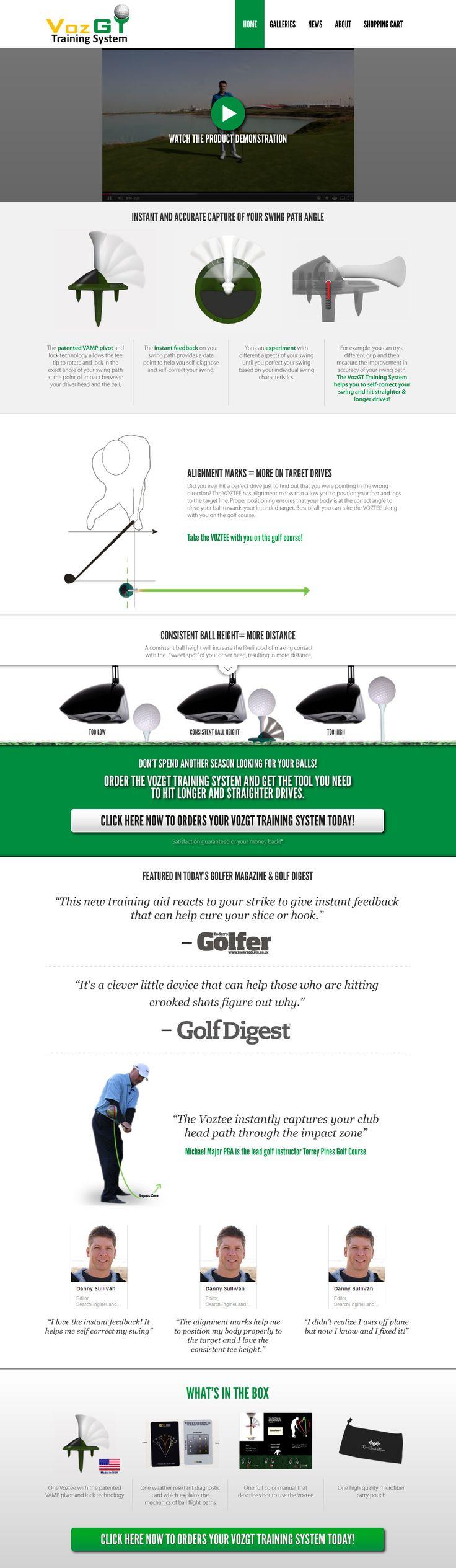 Golf Website Design - Phase 1 for new Golf Training Aid.  www.GolfInternetMarketing.com