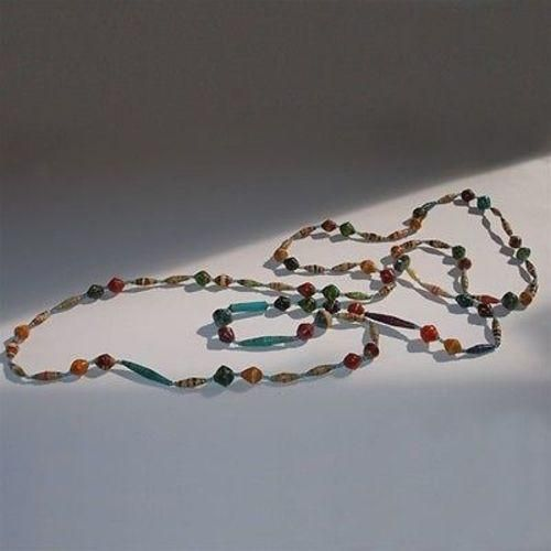 Long Glossy Recycled Paper Necklace made Kenyan artisans