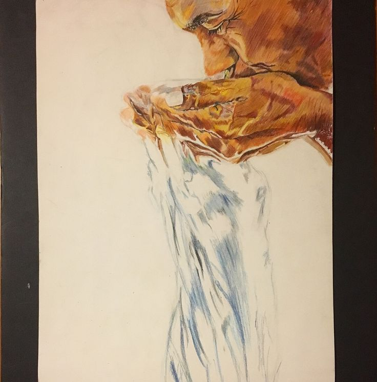 Portrait of man drinking water. Colored Pencil.