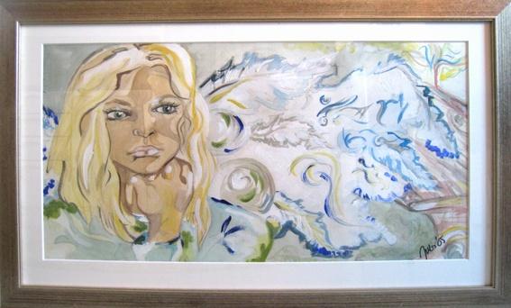 Hiljainen Hetki, The Silent Break 2005  87 x 53 cm  vesiväri, intian tussi, akryyli / watercolors, indian ink, acrylics