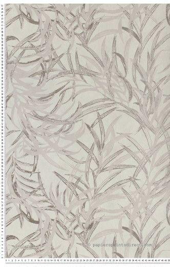 Feuilles bambous gris tourterelle - Papier peint Jardin d'hiver de Montecolino