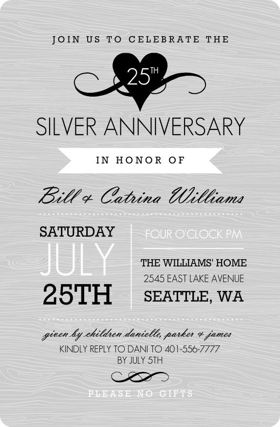 Gray Western Style Silver Anniversary Invitation | Creative. Partays! Events! | 25th wedding anniversary, Anniversary invitations, Wedding anniversary ...