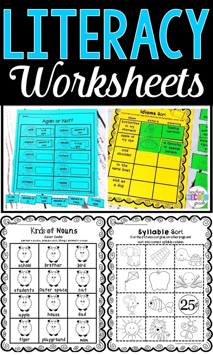 These literacy worksheets are great for your 1st, 2nd, or 3rd grade classroom or home school students. Use these for review, early or fast finishers, as seat work, homework, test prep, literacy centers or stations, and more. Topics include nouns, synonyms, antonyms, writing, syllables, ABC order, abbreviations, long and short vowels, hard and soft c & g, adjectives, beginning / middle / end, and MANY MORE! {first, second, third graders} #literacyworksheets #morningwork