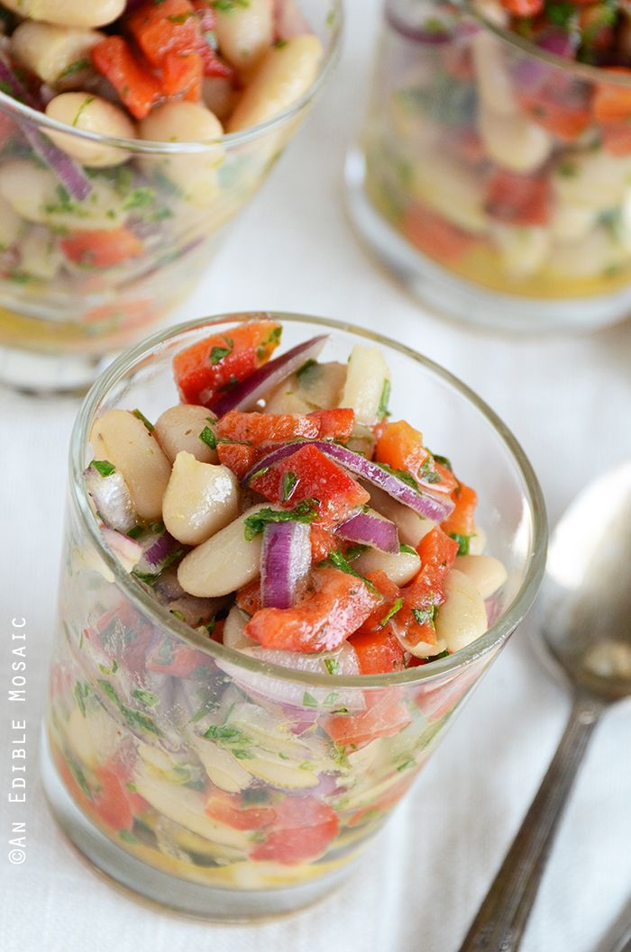 White Bean-Roasted Red Pepper Salad, two thumbs up from everyone in the family:o) NOTE: go light on the onion, garlic & parsley as not to overpower... a little goes a long way.