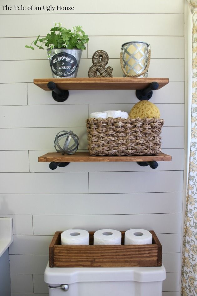 DIY Shelving:They are 1/2″ flush and cap pieces with an 8″ long pipe piece. I put each one together, cleaned them with rubbing alcohol and spray painted them with a satin black spray paint by Rust-Oleum. The shelf piece is a 1×8″ that I cut down to 2′ long. The cap pieces at the ends of the pipe hold the shelf tight in place.
