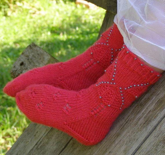 Neon pink knit kids wool socks. House socks. by echocraftings