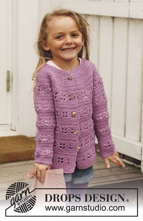 """Crochet DROPS jacket with lace pattern and round yoke in """"Karisma"""". Jacket is worked top down. Size 3 - 12 years. ~ DROPS Design-free pattern."""