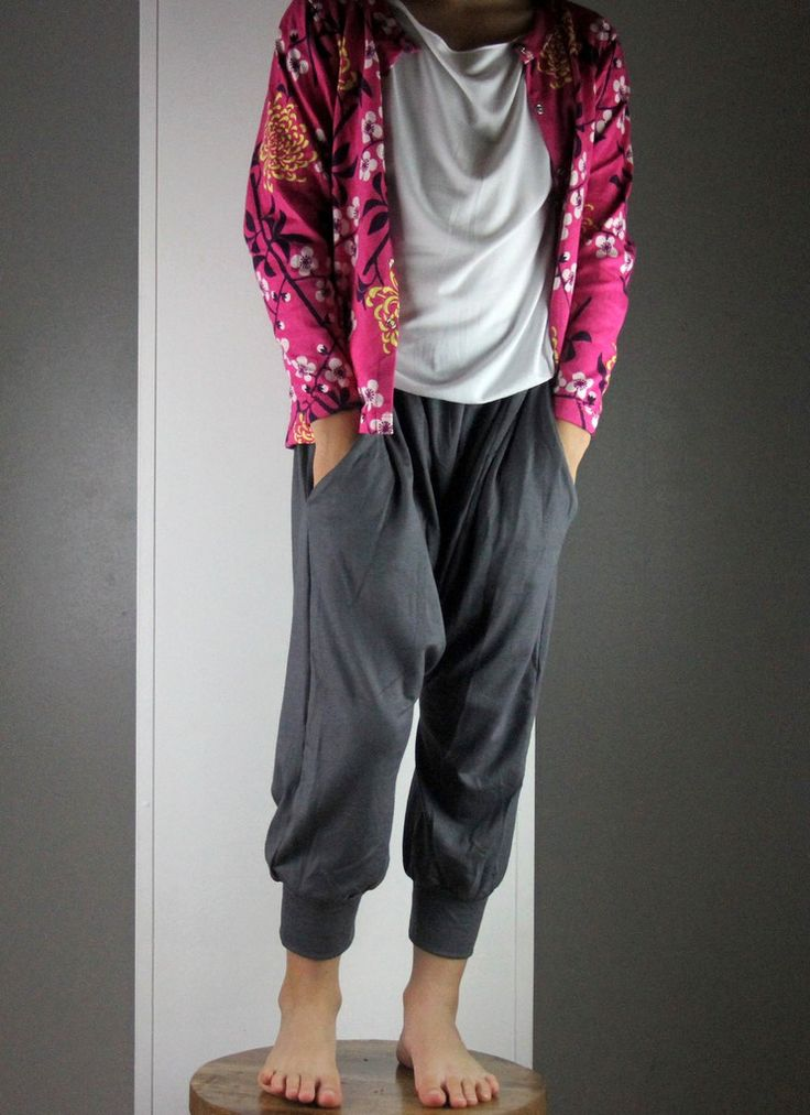 boy's and girl's baggy genie pants with side pockets. Soft stretch charcoal fabric. Ethical and handmade by Kobomo.