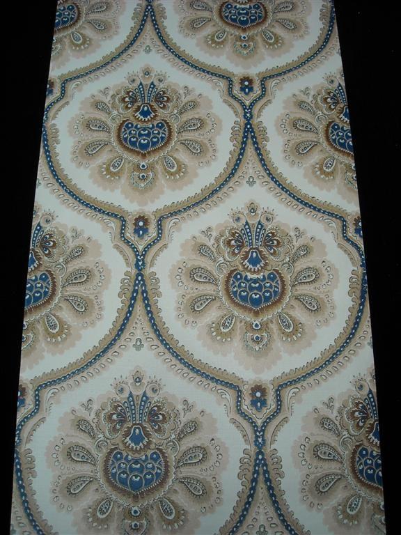 beige bruin blauw groot medaillon - Funkywalls - Dé webshop voor vintage en modern behang