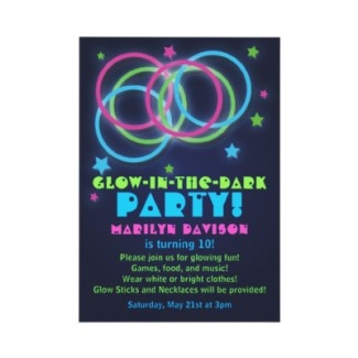 Glow in the dark party invites