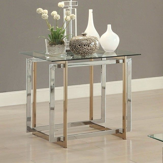 Furniture Of America Skye Modern Two Tone Finish Metal End Table With Glass  Top   Main