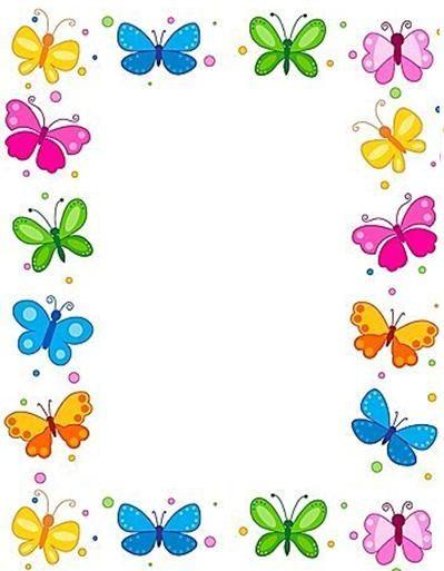 carátulas para decorar trabajos infantiles de niñas, carátulas de mariposas, bordes decorativos de mariposas