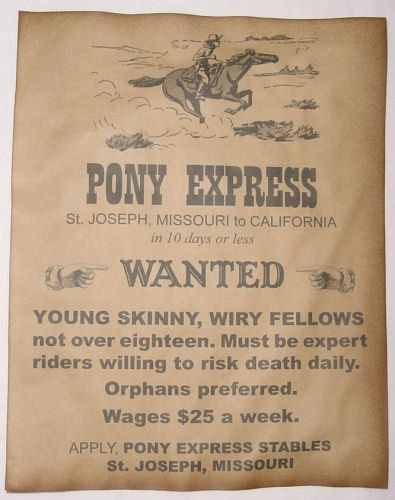 Set Of 5 Old West Notice Posters Pony Express Stagecoach