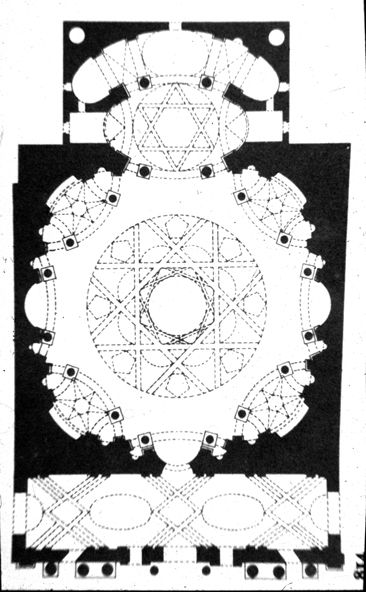 """Guarino Guarini's ceiling plan BAROQUE ARCHITECTURE, Piedmont; Plan of the church of S. Lorenzo, 1668-80, Turin, by Guarini. """"Guarini's church of S. Lorenzo, is square in plan but has an octagonal central space in which each side curves inwards in the form of a wide, open arch of the """"Palladian"""" also called """"Venetian"""" or """"Serliana"""" - type. In the four diagonal axes these column-framed openings lead into chapels of a curious near-oval plan defined by two arcs of circles.""""-"""