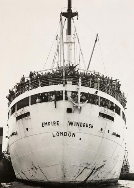 The 'Empire Windrush' arriving in London, England in 1948.