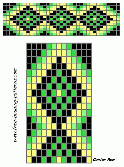 free beading patterns | free-beading-patterns-barrette-green-diamonds