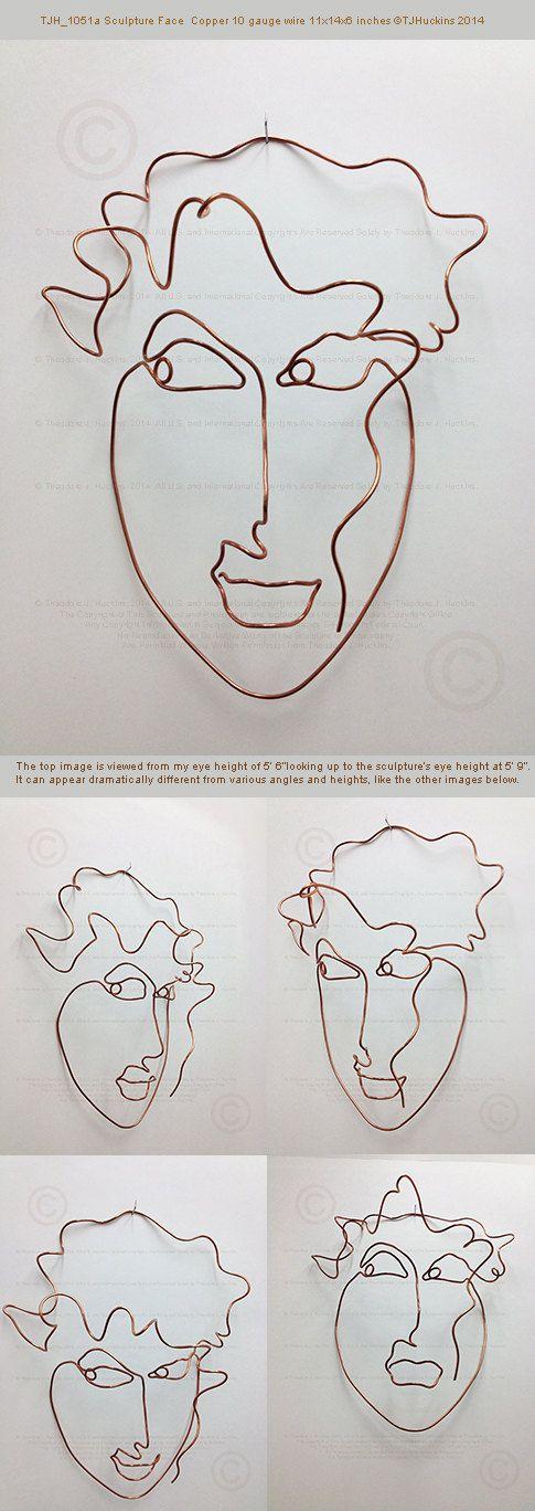 Copper wire metal wall art sculpture face by TheoJHuckinsSculpts