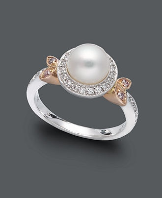 Belle de Mer Pearl Ring, 14k White and Rose Gold Cultured Freshwater Pearl, Diamond and Pink Sapphire Accent Ring - Pearls - Jewelry & Watches - Macy's: Accent Rings, Pearl Rings, 14K White, Pearls Rings, Culture Freshwater Pearls, Pink Sapphire, Pearls Diamonds, Rose Gold, Mer Pearls