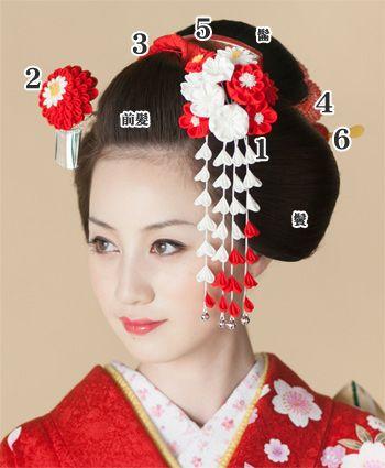 日本髪の飾りつけ:::::how to adorn Traditional Japanese hair part1::::: 1.メインの前挿:左前から、前髪の根に向かって挿します。 4.かのこ:曲げに絡げ、後ろ姿を飾ります。 2.サブの前挿:左右の前挿がハの字になるように挿します。 5.前櫛・平打ちセット:前髪と髷の根に挿します。 3.ちんころ:前髪に結い、元結(もっとい)を隠します。