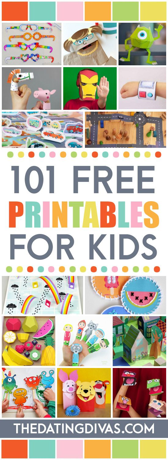 Over 100 FREE Printables for Kids! Everything from coloring pages to puppets, from play food to paper dolls and board games! www.TheDatingDivas.com