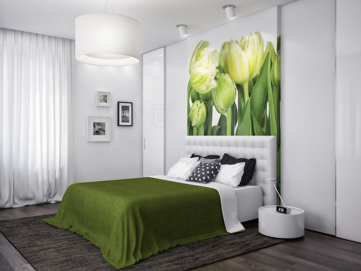 apartment green white nature bedroom interior design