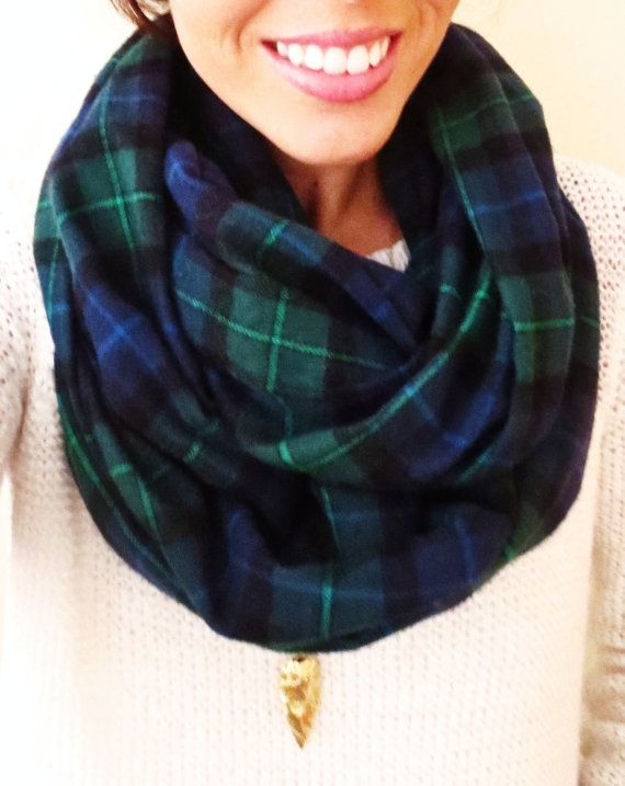 Navy and Hunter Green Plaid Infinity Scarf- Cozy Flannel Winter Scarf---want