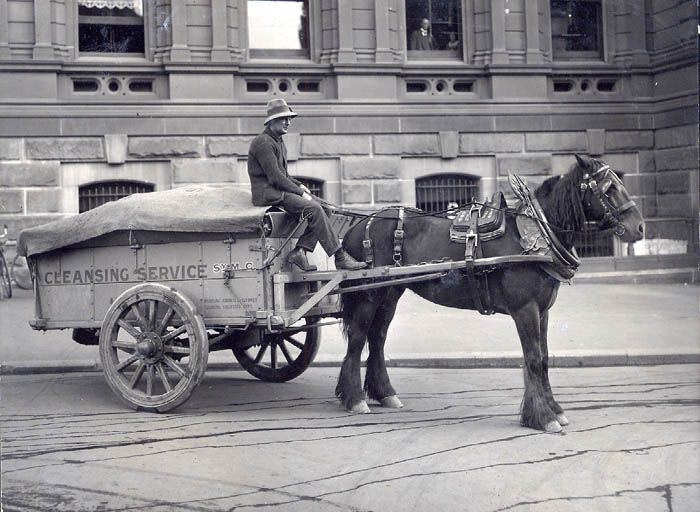Garbage carts Rubbish was originally picked up by carters and placed in bins on the back of a truck. In 1901 the City Council modernised their 'fleet' adopting covered garbage disposal carts. This style of vehicle was still in service in the late 1920s.