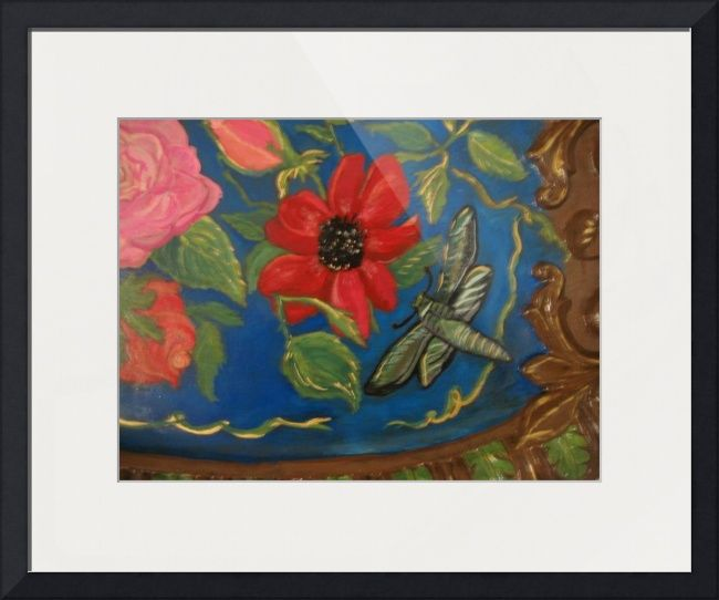 """""""FLORES para mi  MADRE"""" by Rose Allen, somewhere over the rainbow // Acrylic paint on a tray which features a beautiful red poppy along with some roses and a green moth. Cool blue background. // Imagekind.com -- Buy stunning fine art prints, framed prints and canvas prints directly from independent working artists and photographers."""