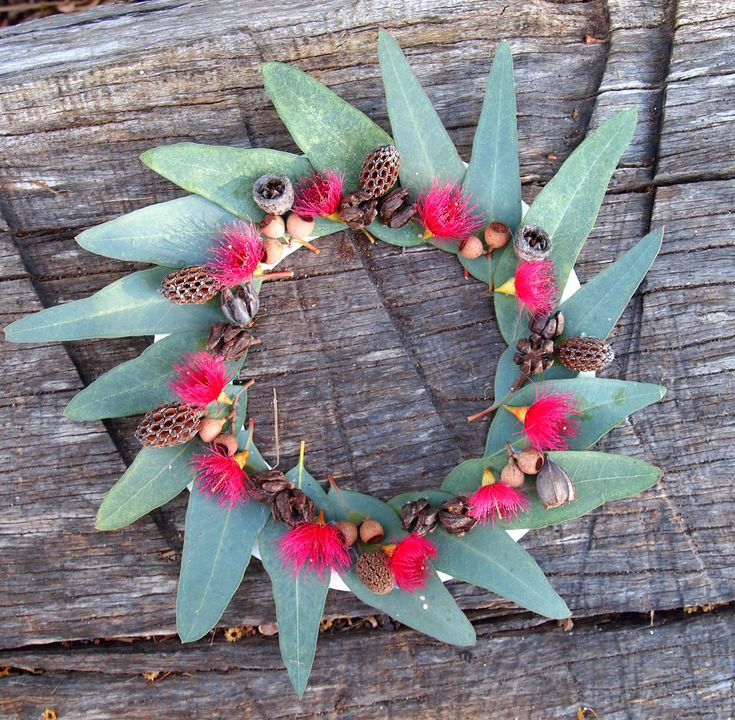 #ANZAC #Wreath made from a paper plate with its centre cut out, decorated with gum leaves, blossom and pods.