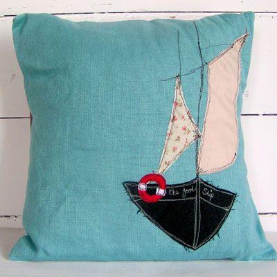 Nautical embroidered cushion