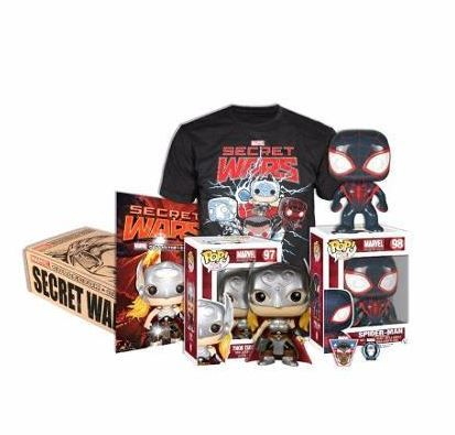 POP BOX COLLECTOR: MARVEL SECRET WARS.-#20735 (M) o #20736 (L). Incluye:Una camisa Marvel Secret Wars –   • Un Funko exclusivo Spider-Man – Marvel: Collector Corps – Funko Pop! 98 Bobble Head  • Un Funko exclusivo Thor (Secret Wars) – Marvel: Collector Corps – Funko Pop! 97 Bobble Head  • Un comic de Marvel Collector Corps – Secret Secret Wars #1  • Un Broche y un Parche.
