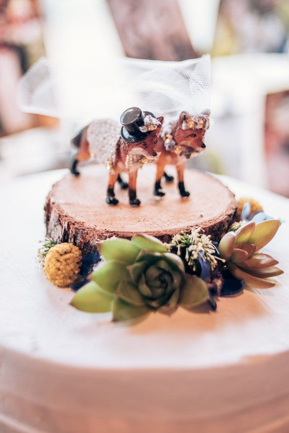 Fox Wedding Cake Topper/ Woodland Wedding by theSkylarkBoutique