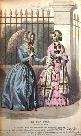 1846   Blackwood's Lady's Magazine and Gazette.   Blue and pink visiting dresses, parasol, bonnets, and fringed white shawl.                      via Google Books  (PD150)     suzilove.com