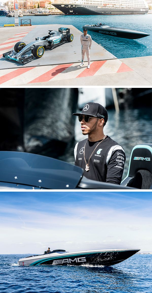 "Nico Rosberg and Lewis Hamilton from the MERCEDES AMG PETRONAS Formula 1 Team meet during the run-up to the Monaco Grand Prix for a sensational event off the racetrack: Hamilton shows the world of racing performance with the ""Cigarette Racing 50 Marauder AMG Monaco Concept"", inspired by the current MERCEDES AMG PETRONAS Formula 1 car, which he also brings to the event."