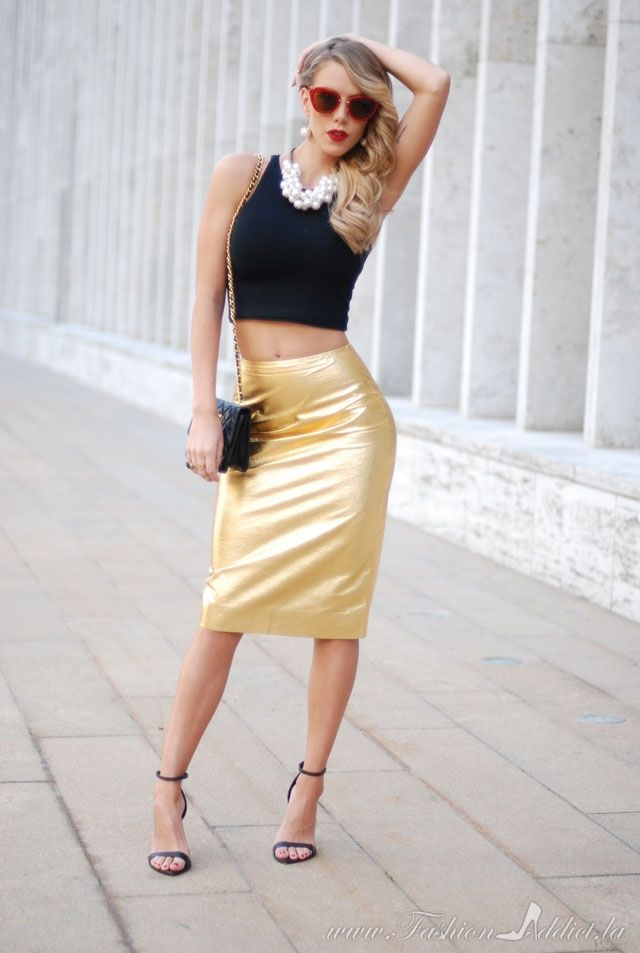 The 25  best Gold pencil skirt ideas on Pinterest