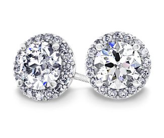 Halo Diamond Earrings In White Gold 1 2 Ctw Pretty Things To Wear Jewelry