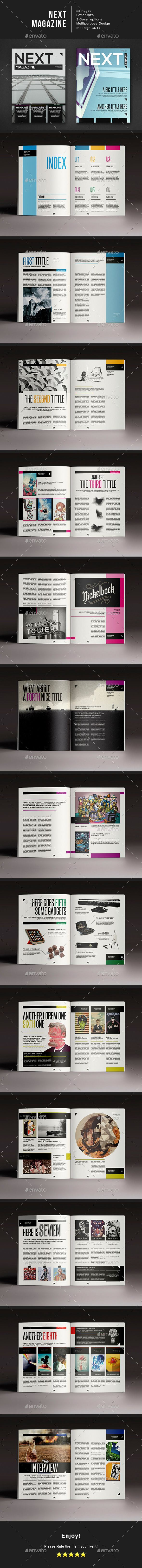 Next Magazine — InDesign Template #job #next • Download ➝ https://graphicriver.net/item/next-magazine-indesign-template/14445344?ref=pxcr