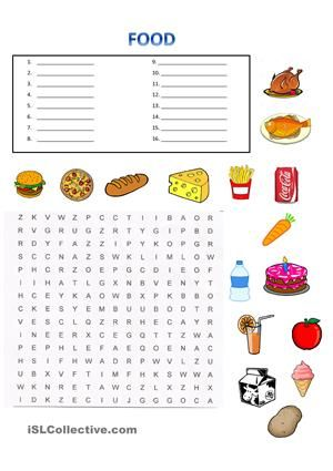 Food wordsearch students write the name of the food then for Cuisine sentence