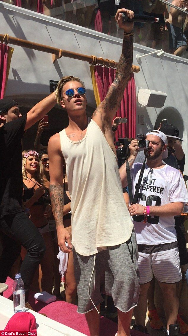 Surprise! Justin Bieber thrilled party-goers at Drai's Beach Club in Las Vegas on Saturday with a spontaneous performance of his new track Where Are U Now